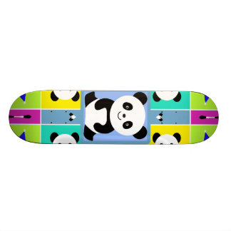 Adorable Panda Bears Bright Colors Skateboards