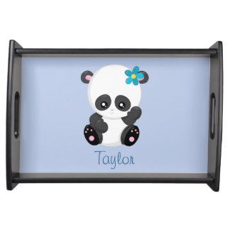 Adorable Panda Personalize Blue Serving Tray