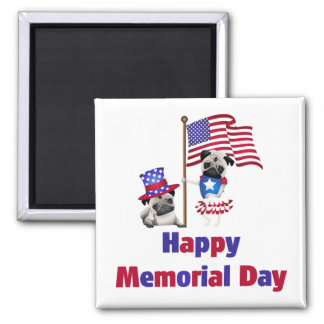 Adorable Patriotic Pugs - Add you own text Magnet