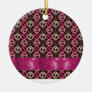 Adorable Peace Sparkle Gifts Ceramic Ornament