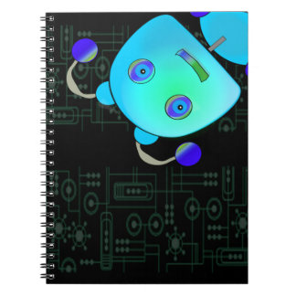 Adorable Peek A Boo Blue Robot Spiral Note Books