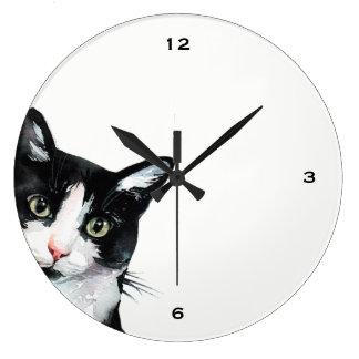 Adorable Peeking Cat Black and White Clock