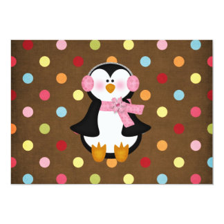 "adorable Penguin 5"" X 7"" Invitation Card"