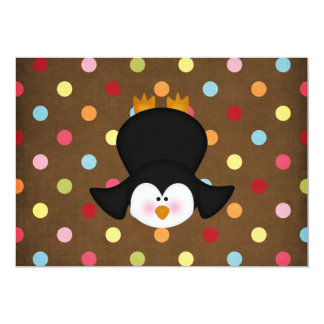 """adorable Penguin 5"""" X 7"""" Invitation Card"""
