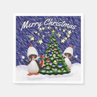Adorable Penguin Ornament Christmas Paradise Paper Napkins