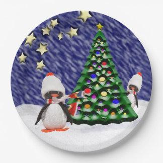 Adorable Penguin Ornament Christmas Paradise Paper Plate