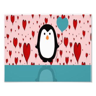 Adorable Penguin with Heart Balloon Photo Art