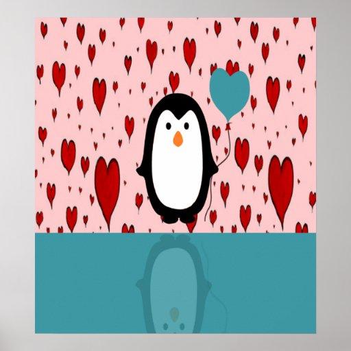 Adorable Penguin with Heart Balloon Print