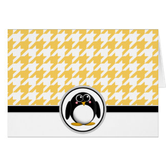 Adorable Penguin Yellow & White Houndstooth Cards