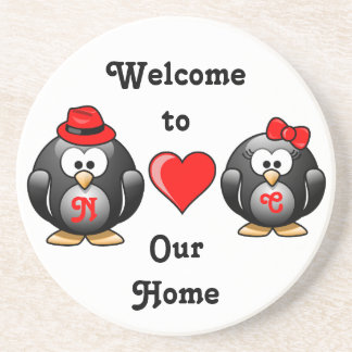 Adorable Penguins Red Heart Hat Ribbon Love Pair Coaster
