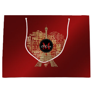 Adorable Personalizable Love Paris Gift | Red Gold Large Gift Bag