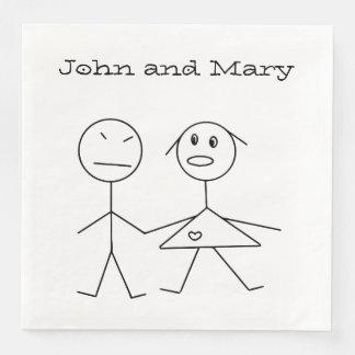 Adorable Personalized Stick Figure Couple Napkins Paper Napkins