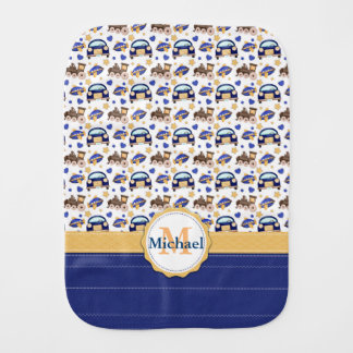 Adorable Personalized Travels Design Burp Cloth