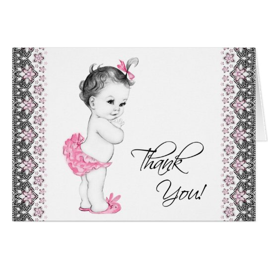 Adorable Pink and Black Baby Shower Thank You Card