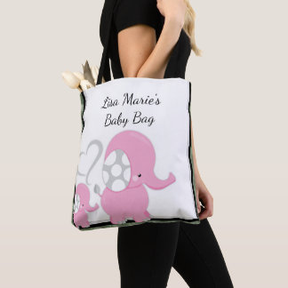 Adorable Pink Baby Elephant Design Personalized Tote Bag