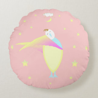 Adorable Pink Baby Sleepy Time Round Decor Pillow