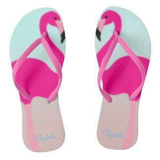 Adorable Pink Flamingos In Love Flip Flops
