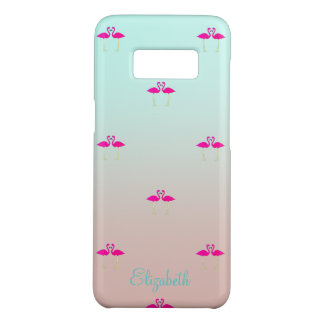 Adorable Pink Flamingos In Love-Personalized Case-Mate Samsung Galaxy S8 Case