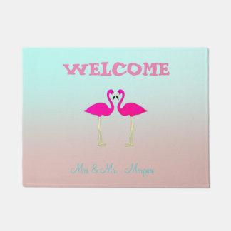 Adorable Pink Flamingos In Love-Personalized Doormat