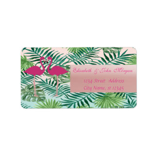 Adorable Pink Flamingos,Palm Leaves  Address Label