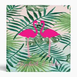 Adorable Pink Flamingos ,Tropical Palm Leaves 3 Ring Binder