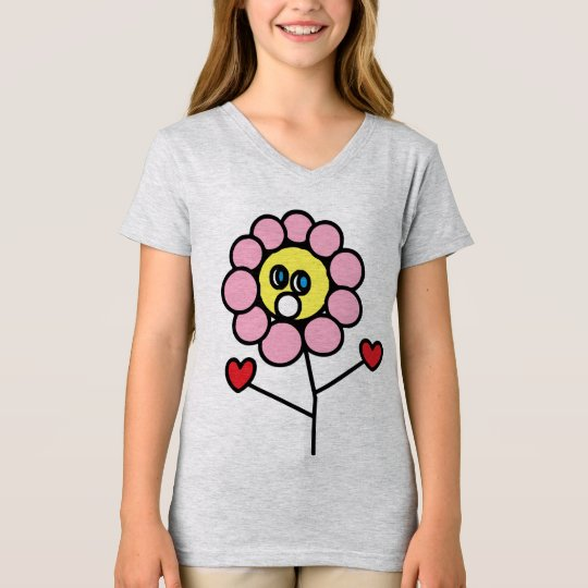 Adorable Pink Flower Child Drawing Girls T-Shirt