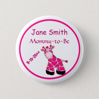 Adorable Pink Giraffe Mommy To Be Baby Shower 2 Inch Round Button