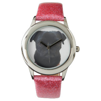 Adorable Pink Glitter Pug Watch