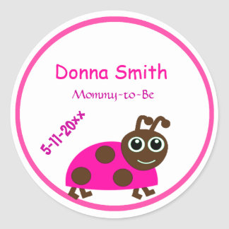 Adorable Pink Ladybug Mommy-to-Be Baby Shower Round Sticker