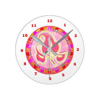 Adorable Pink Leaf Jewel : Dazzling Border Round Clock