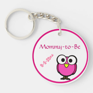 Adorable Pink Owl Mommy To Be Baby Shower Double-Sided Round Acrylic Keychain