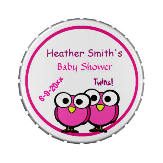 Adorable Pink Owl Mommy To Be Baby Shower Twins