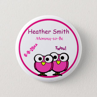 Adorable Pink Owl Mommy To Be Baby Shower Twins 2 Inch Round Button