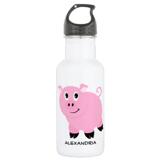 Adorable Pink Pig Personalized Cartoon Piggy 532 Ml Water Bottle
