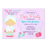 "Adorable Pink Purple Spa Pampering Birthday Party 5"" X 7"" Invitation Card"