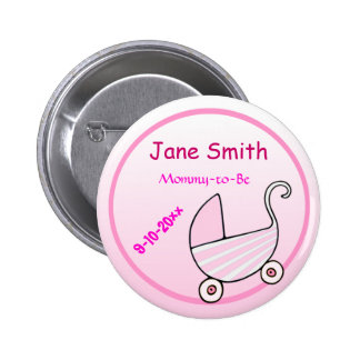 Adorable Pink Stroller Mommy-to-Be Baby Shower 2 Inch Round Button