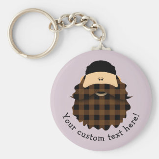 Adorable Plaid Chocolate Brown Bearded Character Basic Round Button Keychain