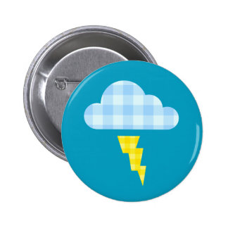 Adorable Plaid Storm Cloud and Lightning Bolt 2 Inch Round Button