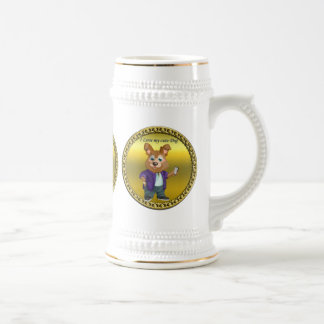 Adorable playful Cartoon dog student in a suit #1 Beer Stein
