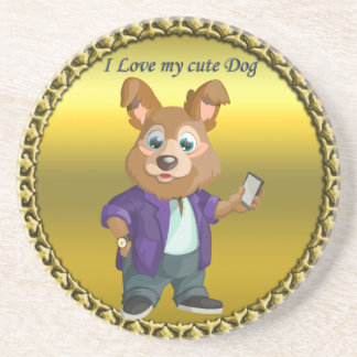 Adorable playful Cartoon dog student in a suit #1 Coaster