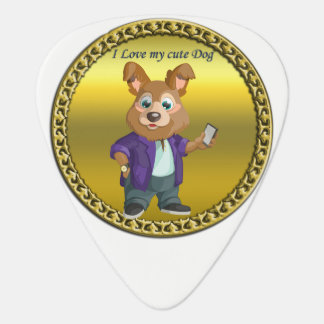 Adorable playful Cartoon dog student in a suit #1 Guitar Pick