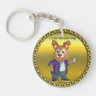 Adorable playful Cartoon dog student in a suit #1 Keychain