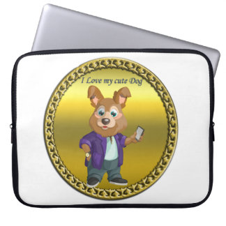 Adorable playful Cartoon dog student in a suit #1 Laptop Sleeve