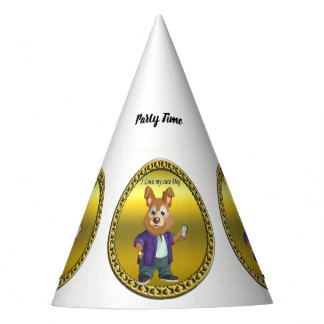 Adorable playful Cartoon dog student in a suit #1 Party Hat