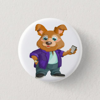 Adorable playful Cartoon dog student in a suit #1w 1 Inch Round Button
