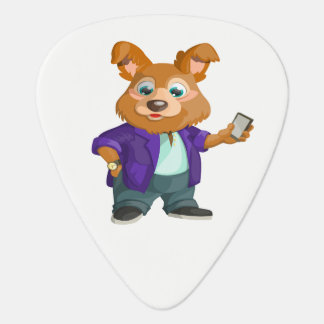 Adorable playful Cartoon dog student in a suit #1w Guitar Pick