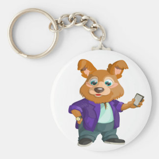 Adorable playful Cartoon dog student in a suit #1w Keychain
