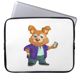 Adorable playful Cartoon dog student in a suit #1w Laptop Sleeve
