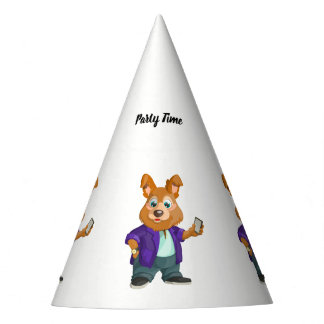 Adorable playful Cartoon dog student in a suit #1w Party Hat