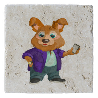 Adorable playful Cartoon dog student in a suit #1w Trivet